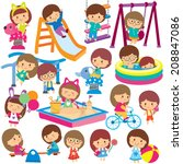 kids at playground clip art set | Shutterstock .eps vector #208847086