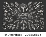 hand drawn vintage floral... | Shutterstock .eps vector #208865815