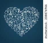 social media doodle background | Shutterstock .eps vector #208876966
