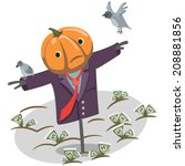 scarecrow pumpkin on a bed of... | Shutterstock .eps vector #208881856