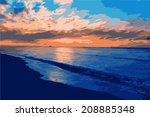 Vector Landscape With Sunset On ...