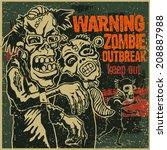 poster zombie outbreak. sign... | Shutterstock .eps vector #208887988