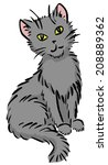 cartoon sitting gray funny cat. ... | Shutterstock .eps vector #208889362