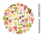 summer food festival. round... | Shutterstock .eps vector #208953295