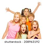 group shoot of a six funny kids | Shutterstock . vector #208963192