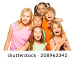 group photo of six children | Shutterstock . vector #208963342