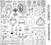 collection of tribal doodle...   Shutterstock .eps vector #208967155