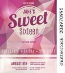 sweet sixteen party invitation... | Shutterstock .eps vector #208970995