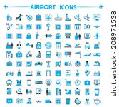 airport icons set  gray and... | Shutterstock .eps vector #208971538