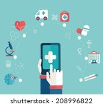 set of flat design concept... | Shutterstock .eps vector #208996822