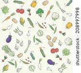 vegetables seamless pattern | Shutterstock .eps vector #208997998