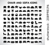 sofa icons set  chair icons set ... | Shutterstock .eps vector #208998196
