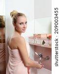 Woman Blonde In Pink Towel...