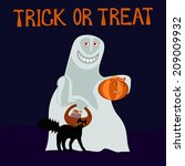trick or treat   happy ghost  | Shutterstock . vector #209009932