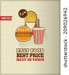fast food menu poster with long ... | Shutterstock .eps vector #209026942