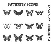 Butterfly Icons  Mono Vector...
