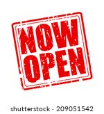 now open red stamp text on white | Shutterstock .eps vector #209051542