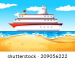 illustration of a ship at the... | Shutterstock .eps vector #209056222