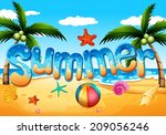 illustration of a summer at the ... | Shutterstock .eps vector #209056246