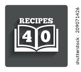cookbook sign icon. 40 recipes...