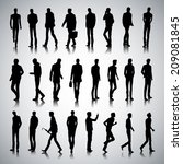 set of urban male silhouettes... | Shutterstock . vector #209081845
