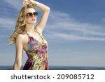 portrait of beautiful blonde... | Shutterstock . vector #209085712