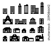 buildings   buildings icon set | Shutterstock .eps vector #209086642