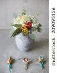 wedding bouquet in a rustic... | Shutterstock . vector #209095126