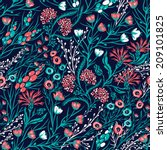 vector floral seamless pattern... | Shutterstock .eps vector #209101825