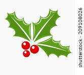 Christmas holly berry symbol. Vector illustration - stock vector