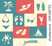 set of summer icons.  flip...