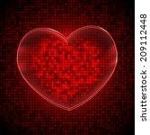 red techno heart background...   Shutterstock .eps vector #209112448