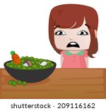 little girl with a table full... | Shutterstock .eps vector #209116162