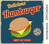 vintage hamburger poster design ... | Shutterstock .eps vector #209126062