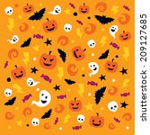 happy halloween pattern with... | Shutterstock .eps vector #209127685
