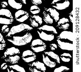 woman lips pattern on black... | Shutterstock .eps vector #209128432