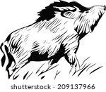 Stylized Silhouette Wild Pig ...