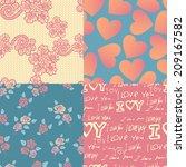 set of four pink wedding... | Shutterstock . vector #209167582