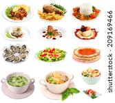 food collage isolated on white | Shutterstock . vector #209169466
