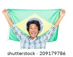 football fan holding brazil... | Shutterstock . vector #209179786