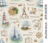 travel illustrations. seamless... | Shutterstock . vector #209182858