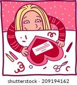 girl makes a valentine | Shutterstock . vector #209194162
