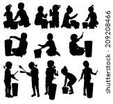 children silhouettes   Shutterstock .eps vector #209208466