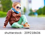 Cute Stylish Boy In Leather...