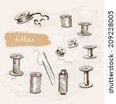 bobbins. set of hand drawn... | Shutterstock .eps vector #209228005