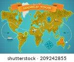 world map. vector illustration.   Shutterstock .eps vector #209242855