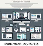 set of flat responsive design... | Shutterstock .eps vector #209250115