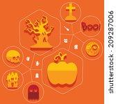halloween flat infographic | Shutterstock . vector #209287006