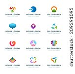 abstract icons or logotypes... | Shutterstock .eps vector #209291095
