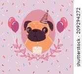 pug birthday | Shutterstock . vector #209294272